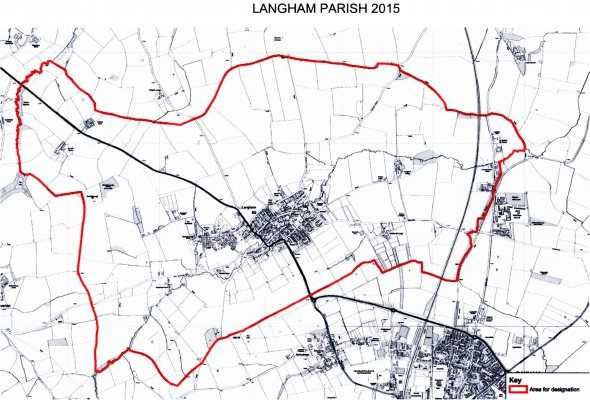 Map of Langham showing Parish Boundary